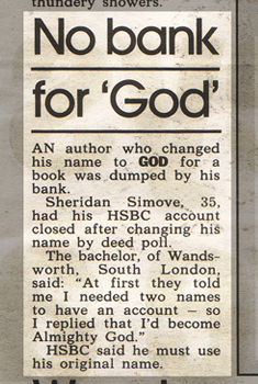 I changed my name to 'GOD'